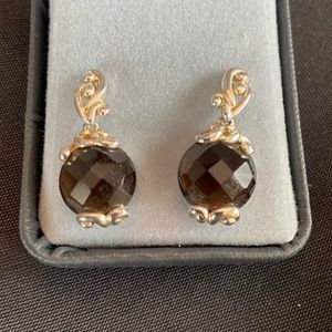 Jewelry - .925 stamped smoky onyx and silver earrings.